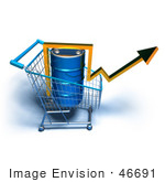 #46691 Royalty-Free (Rf) Illustration Of A 3d Arrow Over An Oil Barrel In A Shopping Cart - Version 6