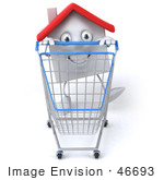 #46693 Royalty-Free (Rf) Illustration Of A 3d White Clay Home Mascot Pushing A Shopping Cart - Version 1