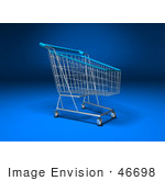 #46698 Royalty-Free (Rf) Illustration Of A 3d Empty Blue Rimmed Shopping Cart - Version 3