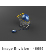 #46699 Royalty-Free (Rf) Illustration Of A 3d Blue Globe Resting In A Shopping Cart With A Computer Mouse - Version 3