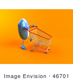 #46701 Royalty-Free (Rf) Illustration Of A 3d Blue Computer Mouse Mascot Pushing A Shopping Cart - Version 1