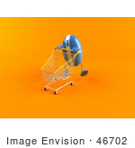 #46702 Royalty-Free (Rf) Illustration Of A 3d Blue Computer Mouse Mascot Pushing A Shopping Cart - Version 2