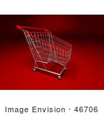 #46706 Royalty-Free (Rf) Illustration Of A 3d Empty Red Rimmed Shopping Cart - Version 3