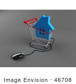 #46708 Royalty-Free (Rf) Illustration Of A 3d Computer Mouse Under A Blue Home In A Shopping Cart