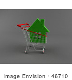 #46710 Royalty-Free (Rf) Illustration Of A 3d Green Home In A Shopping Cart