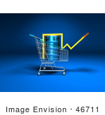 #46711 Royalty-Free (Rf) Illustration Of A 3d Arrow Over An Oil Barrel In A Shopping Cart - Version 3