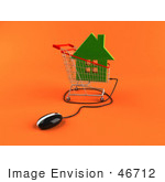 #46712 Royalty-Free (Rf) Illustration Of A 3d Computer Mouse Under A Green Home In A Shopping Cart