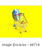 #46714 Royalty-Free (Rf) Illustration Of A 3d Blue Computer Mouse Mascot Pushing A Shopping Cart - Version 3