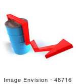 #46716 Royalty-Free (Rf) Illustration Of A 3d Red Arrow Going Around A Blue Oil Barrel - Version 3