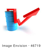 #46719 Royalty-Free (Rf) Illustration Of A 3d Red Arrow Going Around A Blue Oil Barrel - Version 2