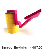 #46720 Royalty-Free (Rf) Illustration Of A 3d Pink Arrow Going Around A Yellow Oil Barrel - Version 2
