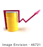 #46721 Royalty-Free (Rf) Illustration Of A 3d Pink Arrow Going Around A Yellow Oil Barrel - Version 1