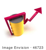 #46723 Royalty-Free (Rf) Illustration Of A 3d Pink Arrow Going Around A Yellow Oil Barrel - Version 4