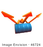 #46724 Royalty-Free (Rf) Illustration Of Three 3d Orange Arrows Spanning Over A Blue Oil Barrel - Version 1