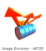 #46725 Royalty-Free (Rf) Illustration Of Three 3d Orange Arrows Spanning Over A Blue Oil Barrel - Version 2