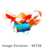 #46726 Royalty-Free (Rf) Illustration Of Three 3d Orange Arrows Spanning Over A Blue Oil Barrel - Version 3
