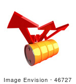 #46727 Royalty-Free (Rf) Illustration Of Three 3d Red Arrows Spanning Over An Orange Oil Barrel - Version 2