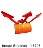 #46728 Royalty-Free (Rf) Illustration Of Three 3d Red Arrows Spanning Over An Orange Oil Barrel - Version 1