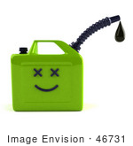 #46731 Royalty-Free (Rf) Illustration Of A 3d Orange Gas Can Face Dripping Oil