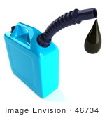 #46734 Royalty-Free (Rf) Illustration Of A 3d Blue Gas Can Dripping Oil
