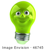 #46745 Royalty-Free (Rf) Illustration Of A Green 3d Electric Light Bulb Head Mascot Smiling - Version 3