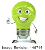 #46746 Royalty-Free (RF) Illustration Of A Green 3d Electric Light Bulb Head Mascot Giving The Thumbs Up by Julos