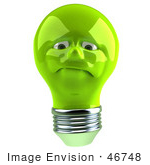 #46748 Royalty-Free (Rf) Illustration Of A Grumpy Green 3d Electric Light Bulb Head Mascot