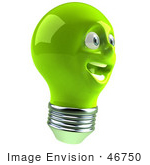 #46750 Royalty-Free (Rf) Illustration Of A Green 3d Electric Light Bulb Head Mascot Smiling - Version 5