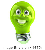 #46751 Royalty-Free (Rf) Illustration Of A Green 3d Electric Light Bulb Head Mascot Smiling - Version 1