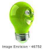 #46752 Royalty-Free (Rf) Illustration Of A Green 3d Electric Light Bulb Head Mascot Smiling - Version 4