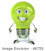 #46753 Royalty-Free (Rf) Illustration Of A Green 3d Electric Light Bulb Head Mascot Standing And Facing Front