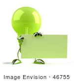 #46755 Royalty-Free (Rf) Illustration Of A Green 3d Glass Light Bulb Mascot Holding Up A Blank Business Card Or Sign - Version 1