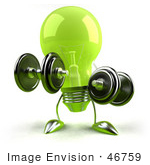 #46759 Royalty-Free (Rf) Illustration Of A Green 3d Glass Light Bulb Mascot Lifting Weights - Version 1