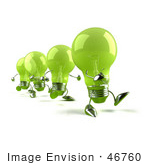 #46760 Royalty-Free (Rf) Illustration Of A Line Of Green 3d Glass Light Bulb Mascots