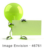 #46761 Royalty-Free (Rf) Illustration Of A Green 3d Glass Light Bulb Mascot Holding Up A Blank Business Card Or Sign - Version 2