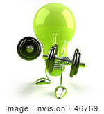 #46769 Royalty-Free (Rf) Illustration Of A Green 3d Glass Light Bulb Mascot Lifting Weights - Version 2