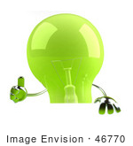 #46770 Royalty-Free (Rf) Illustration Of A Green 3d Glass Light Bulb Mascot Giving The Thumbs Up And Holding A Blank Sign