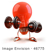 #46775 Royalty-Free (Rf) Illustration Of A Red 3d Glass Light Bulb Mascot Lifting Weights