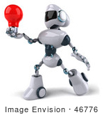#46776 Royalty-Free (Rf) Illustration Of A 3d Techno Robot Mascot Holding A Red Lightbulb