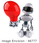 #46777 Royalty-Free (Rf) Illustration Of A 3d Techno Robot Mascot Holding A Red Light Bulb