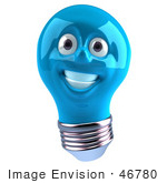 #46780 Royalty-Free (Rf) Illustration Of A Blue 3d Electric Light Bulb Head Mascot Smiling - Version 1
