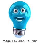 #46782 Royalty-Free (Rf) Illustration Of A Blue 3d Electric Light Bulb Head Mascot Smiling - Version 2