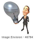 #46784 Royalty-Free (Rf) Illustration Of A 3d White Corporate Businessman Mascot Holding A Light Bulb - Version 4