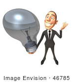 #46785 Royalty-Free (Rf) Illustration Of A 3d White Corporate Businessman Mascot Holding A Light Bulb - Version 2