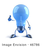 #46786 Royalty-Free (Rf) Illustration Of A Blue 3d Glass Light Bulb Mascot Giving The Thumbs Up