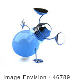 #46789 Royalty-Free (Rf) Illustration Of A Blue 3d Glass Light Bulb Mascot Doing A Hand Stand