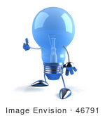 #46791 Royalty-Free (Rf) Illustration Of A Blue 3d Glass Light Bulb Mascot Holding His Thumb Up