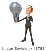 #46793 Royalty-Free (Rf) Illustration Of A 3d White Corporate Businessman Mascot Holding A Light Bulb - Version 3