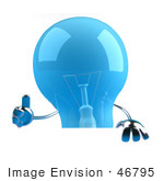 #46795 Royalty-Free (Rf) Illustration Of A Blue 3d Glass Light Bulb Mascot Giving The Thumbs Up And Holding A Blank Sign