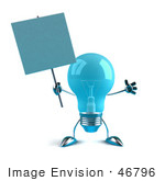 #46796 Royalty-Free (Rf) Illustration Of A Blue 3d Glass Light Bulb Mascot Holding A Blank Sign On A Post - Version 2
